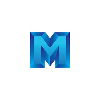 Buchstabe m 3d-logo