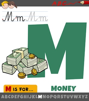 Buchstabe m aus dem alphabet mit cartoongeld