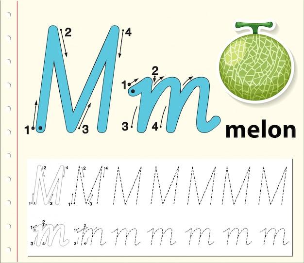Buchstabe m, der alphabetarbeitsblätter verfolgt