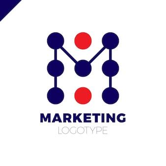 Buchstabe m logo design-vorlage. marketingrate dot firmenzeichen