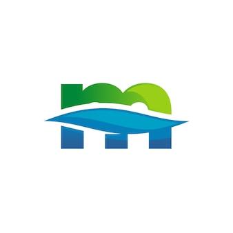 Buchstabe m logo für sauberes wasser
