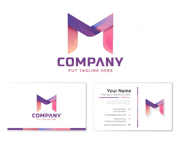 Buchstabe m logo mit briefpapier visitenkarte