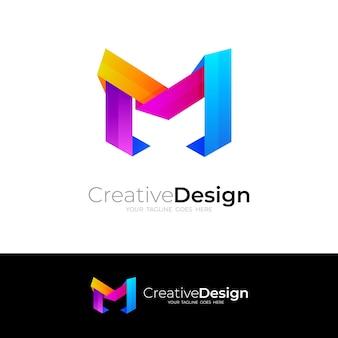 Buchstabe m logo mit buntem design, einfache vorlage