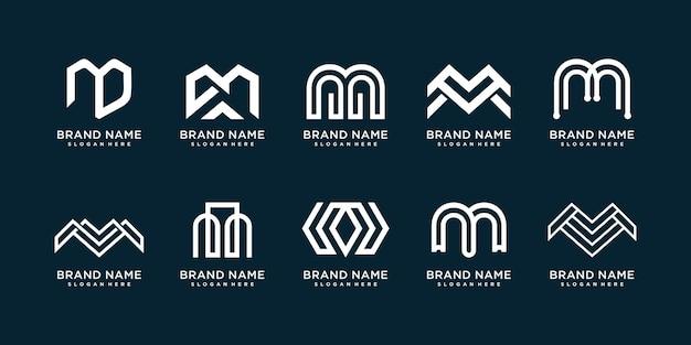 Buchstabe m logosammlung mit kreativem elementkonzept premium-vektor