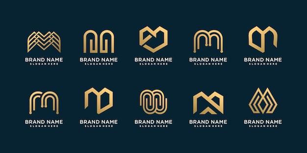 Buchstabe m logosammlung mit kreativem luxuskonzept premium-vektor
