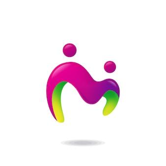 Buchstabe m menschliches logo
