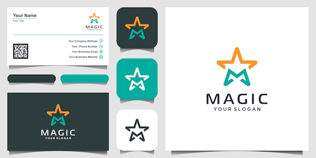 Buchstabe m mit sternlinienkunst-logo-design-inspiration. logo- und visitenkarten-design