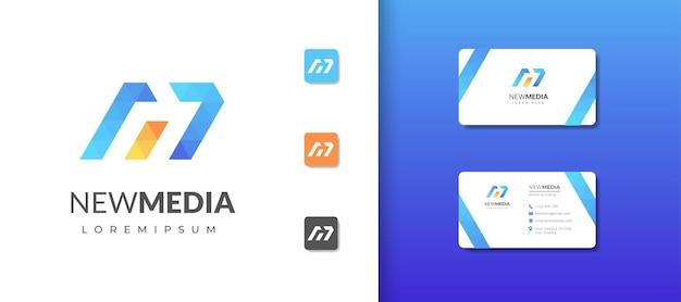 Buchstabe m monogramm-logo-design-vorlage mit visitenkarten-design