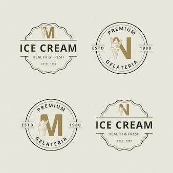 Buchstabe m und n mit abstrakter eiscreme-logoschablone