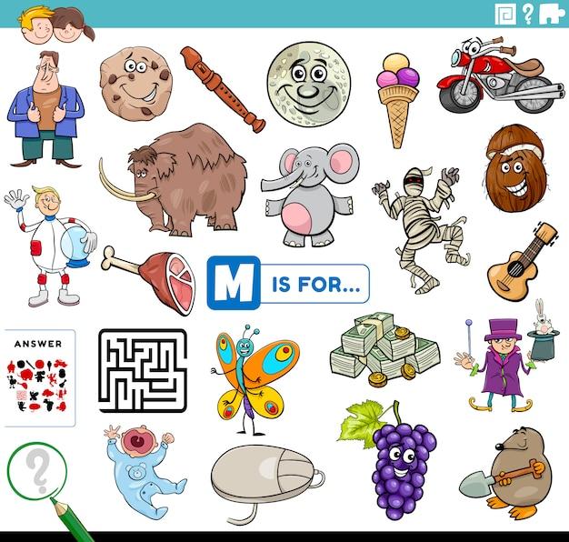 Buchstabe m wörter pädagogische aufgabe für kinder