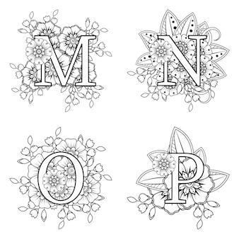 Buchstabe mnop mit mehndi-blume in der malbuchseite des ethnischen orientalischen stils