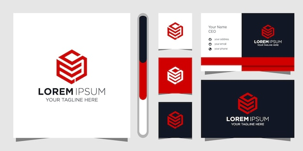 Buchstabe ms logo design und visitenkarte.