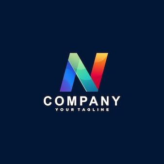 Buchstabe n farbverlauf logo design