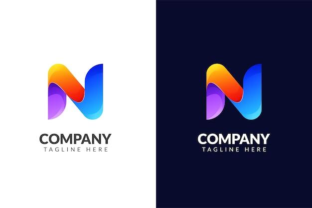 Buchstabe n logo design elegant mit kreativem farbverlaufskonzept