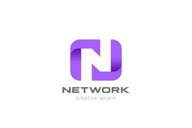 Buchstabe n logo design. negativer raumstil.