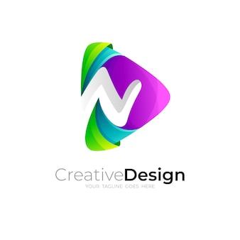 Buchstabe n-logo mit spieldesign-kombination, 3d-stil