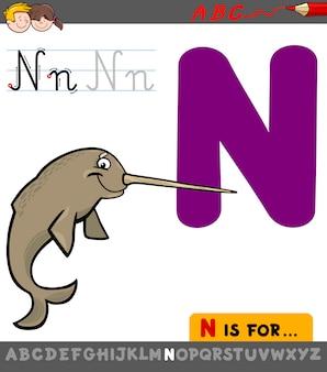 Buchstabe n mit cartoon narwal