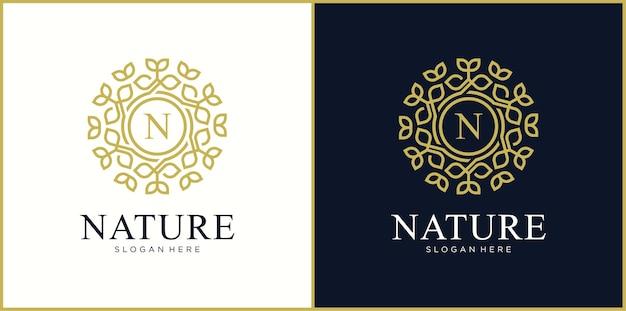 Buchstabe n natur line art style logo design