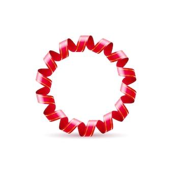 Buchstabe o aus rot gekräuseltem glänzendem band