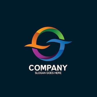 Buchstabe o und wellen-logo-design