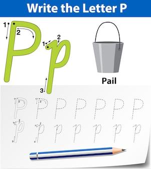 Buchstabe p, der alphabet-arbeitsblätter verfolgt