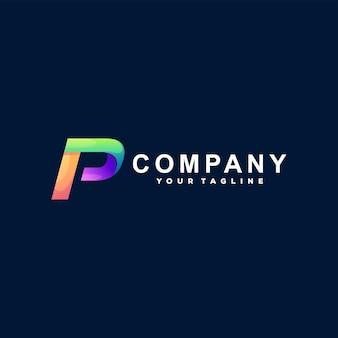 Buchstabe p farbverlauf logo design