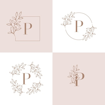 Buchstabe p-logo-design mit orchideenblattelement