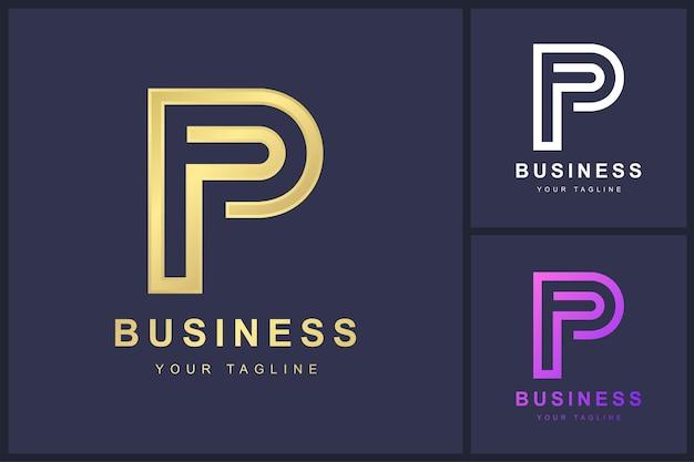 Buchstabe p-logo mit umrisskonzept