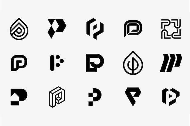 Buchstabe p logo set vorlagensammlung