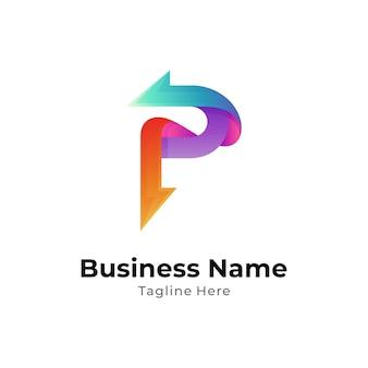 Buchstabe p-logo-vorlage mit pfeilform
