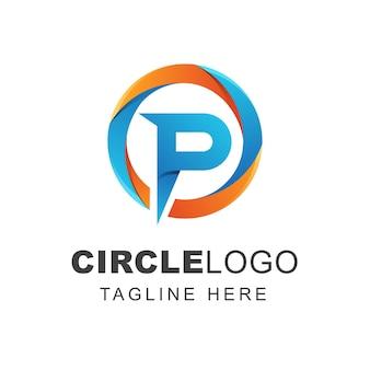 Buchstabe p logoentwurf mit abstrakter kreisform