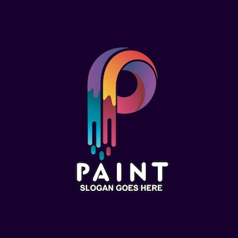 Buchstabe p mit buntem farblogodesign