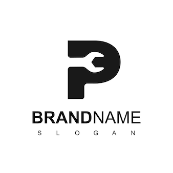Buchstabe p, reparatur-logo-design-vektor-vorlage isoliert auf weißem hintergrund