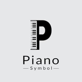 Buchstabe p und klavier logo design inspiration