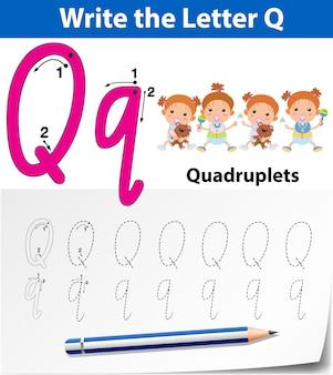 Buchstabe q, der alphabetarbeitsblätter verfolgt