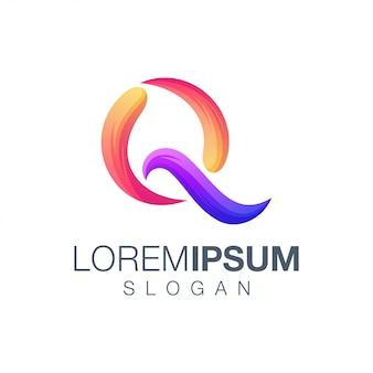 Buchstabe q farbverlauf logo-design