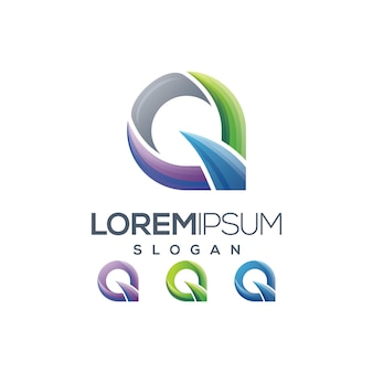 Buchstabe q logo farbverlauf