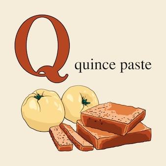 Buchstabe q mit quittenpaste. illustriertes englisches alphabet mit bonbons.