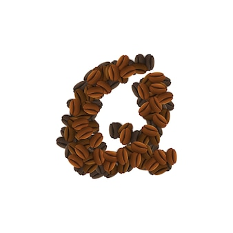 Buchstabe q von kaffeekörnern