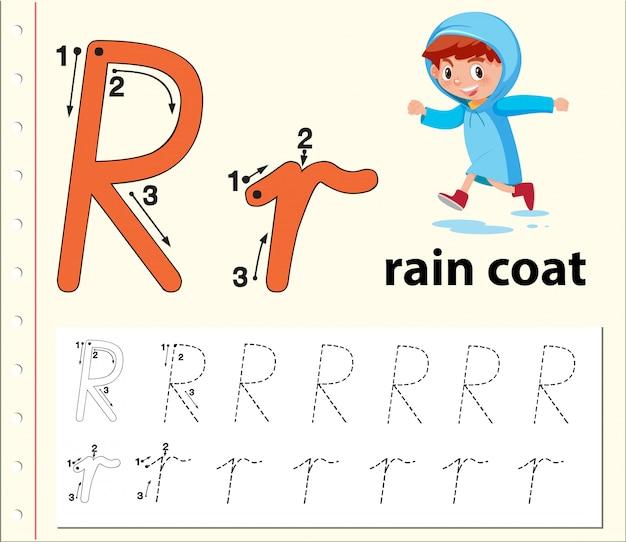 Buchstabe r, der alphabet-arbeitsblätter verfolgt