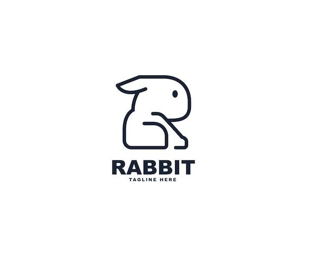 Buchstabe r kaninchen-logo-design
