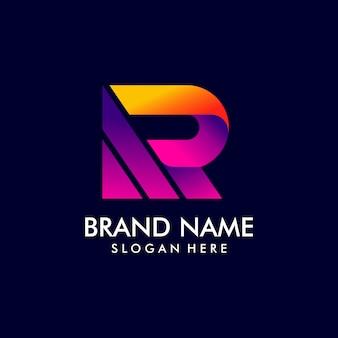 Buchstabe r logo design mit farbverlauf