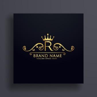 Buchstabe r logo mit goldener krone und blumendekoration