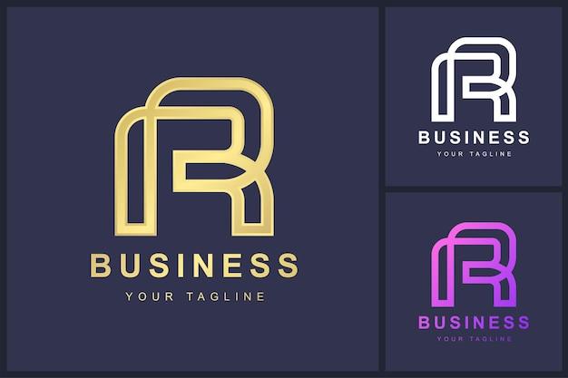 Buchstabe r-logo mit verdrehtem linienkonzept