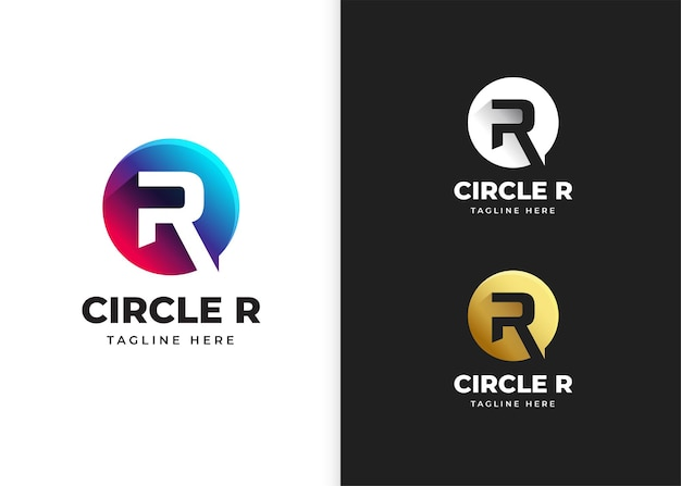 Buchstabe r-logo-vektor-illustration mit kreisform-design