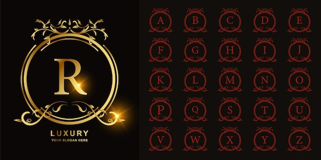 Buchstabe r oder sammlungsanfangsalphabet mit goldener logoschablone des luxuriösen ornamentblumenrahmens.