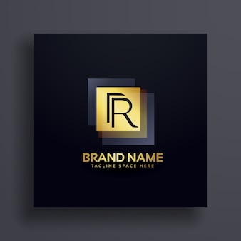 Buchstabe r premium logo design konzept in gold