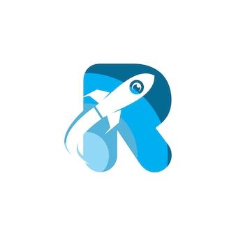 Buchstabe r rakete logo vorlage