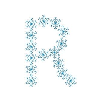 Buchstabe r von schneeflocken. festliche schrift oder dekoration für neujahr und weihnachten