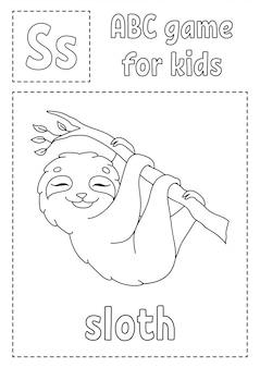 Buchstabe s ist für faultier. abc-spiel für kinder. alphabet malvorlagen.